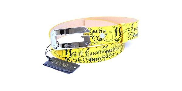 Dámský kanárkově žlutý pásek Guess s potiskem