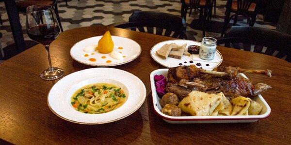 Čtyřchodové svatomartinské menu pro 2 osoby