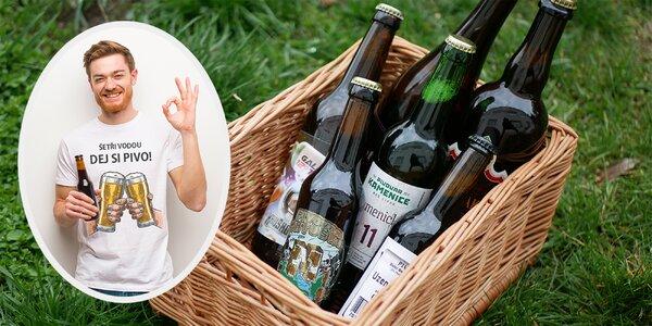 Balení 6 nebo 12 řemeslných piv a vtipné tričko