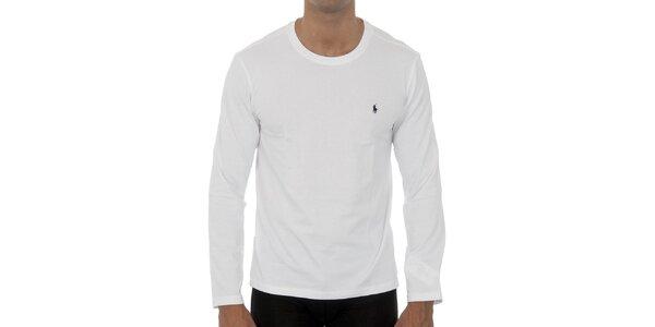 Bílé tričko Polo Ralph Lauren s dlouhým rukávem