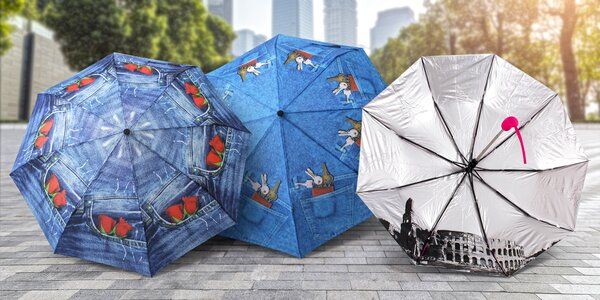 Vystřelovací deštníky s motivem riflí či měst