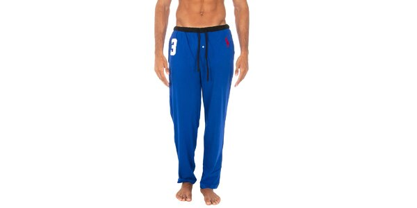 Pánské světle modré pyžamové kalhoty Polo Ralph Lauren s černým lemem