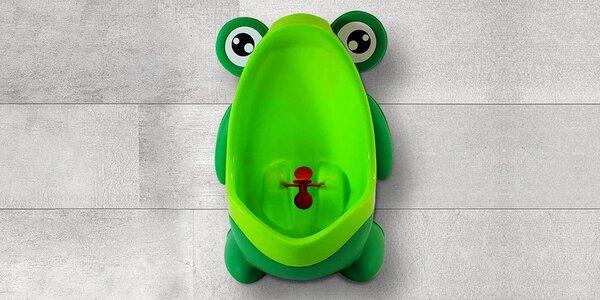 Dětský pisoár v zelené barvě s motivem žáby