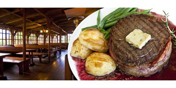 DVA hovězí steaky a DVĚ pečené plněné brambory