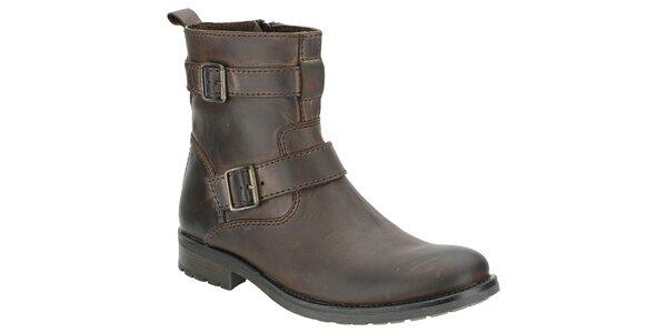 Pánské tmavě hnědé kotníčkové boty Clarks s pásky