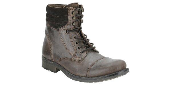 Pánské tmavě hnědé kotníčkové boty Clarks
