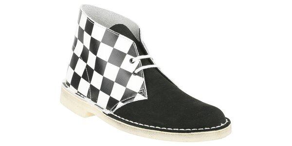 Pánské černobílé kotníčkové boty Clarks se šachovnicí