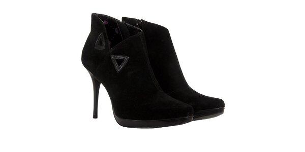 Dámské černé semišové kotníčkové boty Fornarina