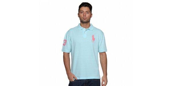 Pánské blankytně modré polo Ralph Lauren s růžovou výšivkou