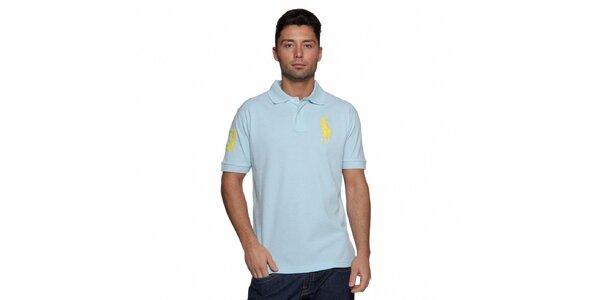 Pánské blankytně modré polo Ralph Lauren se žlutou výšivkou