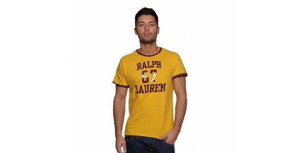 Žluté tričko Ralph Lauren s černými okraji a nápisem