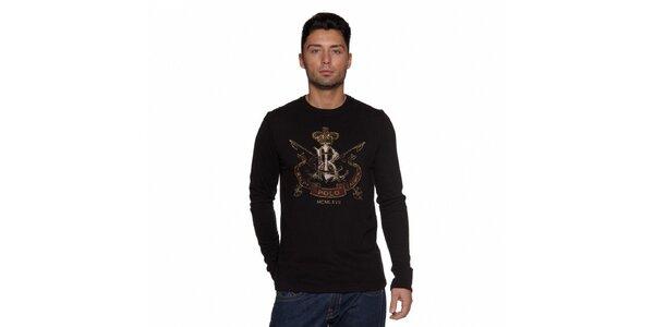 Černé tričko Ralph Lauren s barevným potiskem a dlouhým rukávem