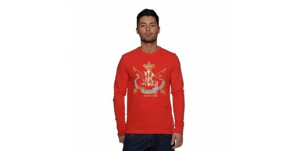 Červené tričko Ralph Lauren s barevným potiskem a dlouhým rukávem