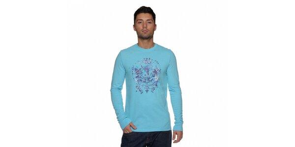 Pánské tyrkysově modré tričko Ralph Lauren s potiskem
