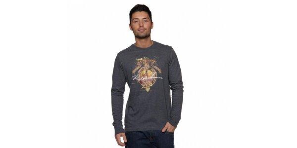 Pánské tmavě šedé tričko Ralph Lauren s potiskem