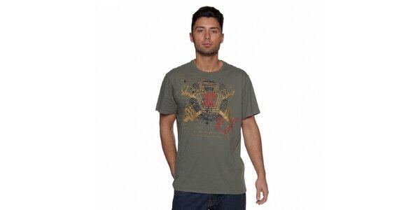 Pánské tmavě zelené tričko Ralph Lauren s potiskem