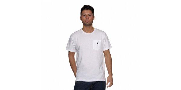 Sněhově bílé tričko Ralph Lauren s kapsičkou