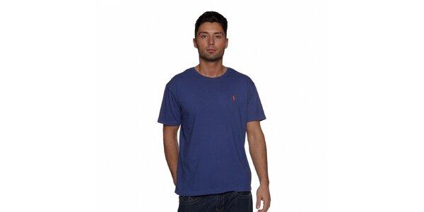 Sytě modré triko Ralph Lauren s logem
