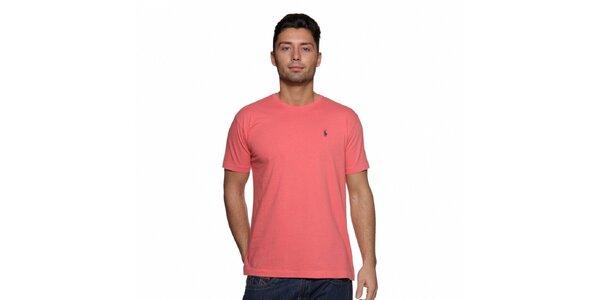 Pánské lososové tričko Ralph Lauren s výšivkou