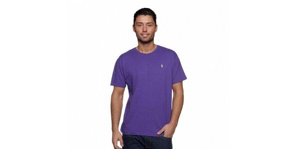 Fialové triko Ralph Lauren s logem