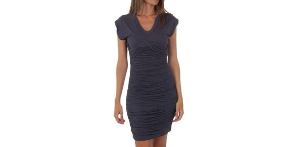 Dámské tmavě šedé nařasené šaty Tommy Hilfiger