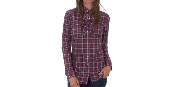 Dámská vínová kostkovaná košile Tommy Hilfiger s fiží