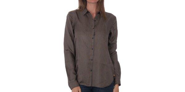 Dámská tmavě hnědá hedvábná košile Tommy Hilfiger s potiskem