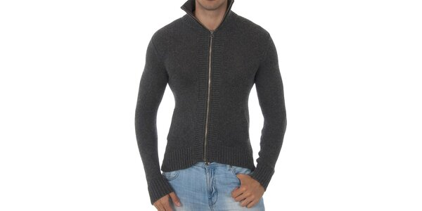 Pánský tmavě šedý svetr Tommy Hilfiger s límcem