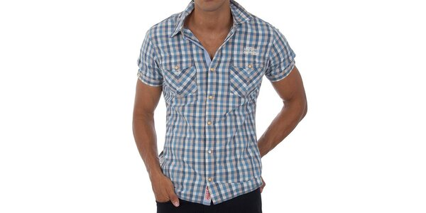 Pánská světle modrá kostičkovaná košile Tommy Hilfiger