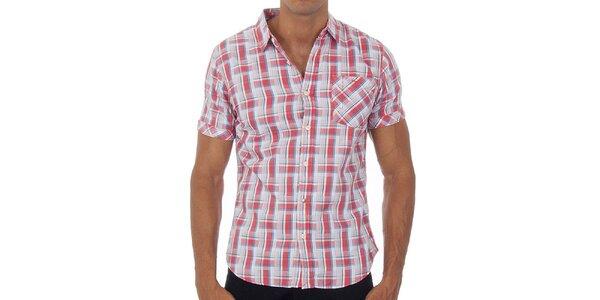 Pánská korálově růžová kostkovaná košile Tommy Hilfiger