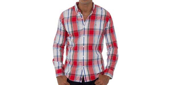 Pánské korálově růžová kostkovaná košile Tommy Hilfiger