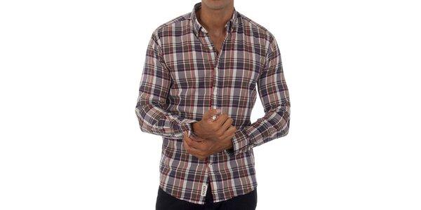 Pánská šedohnědá kostkovaná košile Tommy Hilfiger