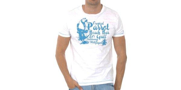 Pánské bílé tričko Tommy Hilfiger s modrým potiskem