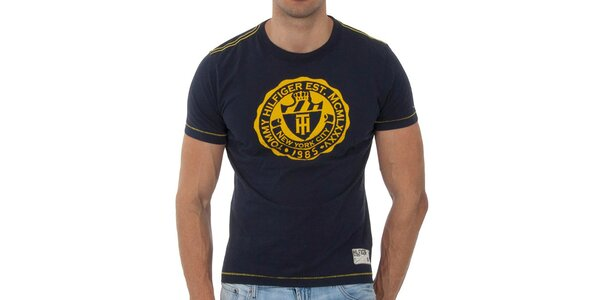 Pánské tmavě modré tričko Tommy Hilfiger s potiskem