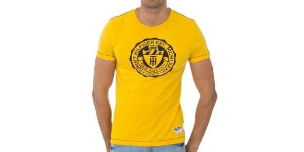 Pánské zářivě žluté tričko Tommy Hilfiger s potiskem