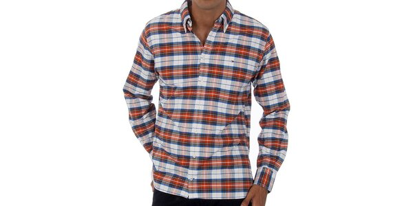 Pánská bílá kostkovaná košile Tommy Hilfiger