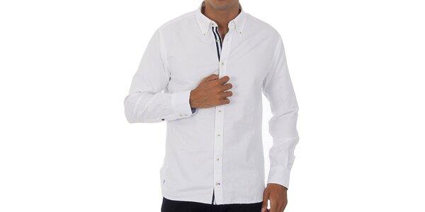 Pánská bílá košile Tommy Hilfiger s tmavě modrými detaily
