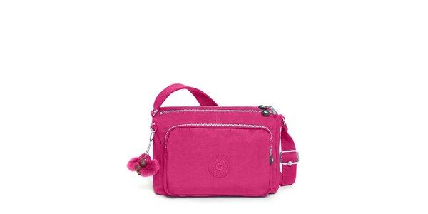 Sytě růžová kabelka s opičkou Kipling