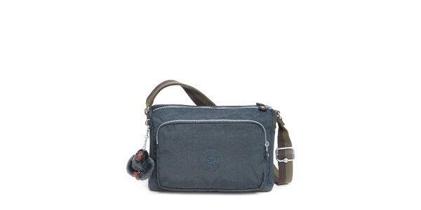 Šedo-modrá kabelka s opičkou Kipling
