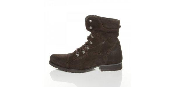 Pánské tmavě hnědé semišové boty Guess