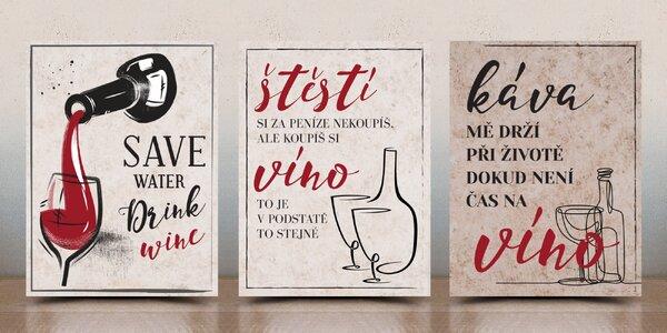 Cedulky s vtipnými hláškami o víně, 6 variant