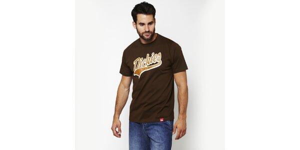 Pánské hnědé tričko s potiskem Dickies
