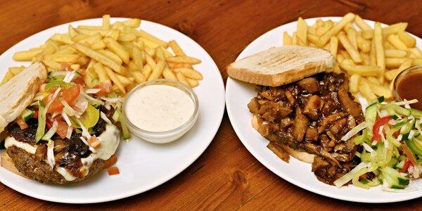 Trhaný sendvič nebo burger a hranolky pro 1 osobu