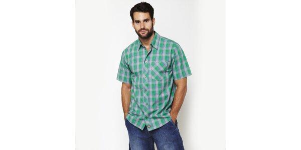 Pánská šedo-zelená kostkovaná košile Dickies
