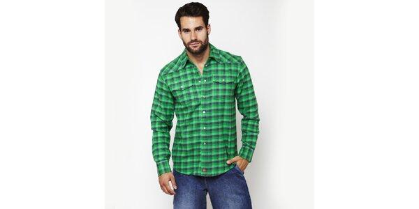 Pánská smaragdově zelená kostkovaná košile Dickies