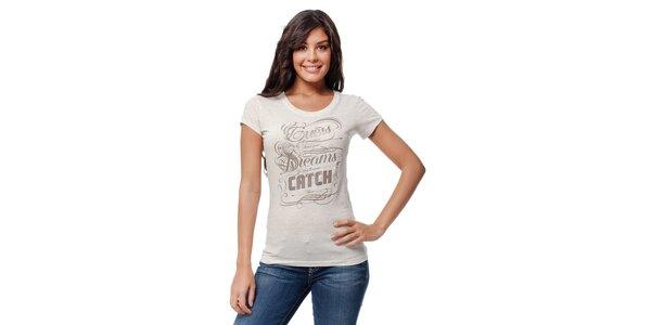 Dámské krémové melírované tričko Guess s potiskem