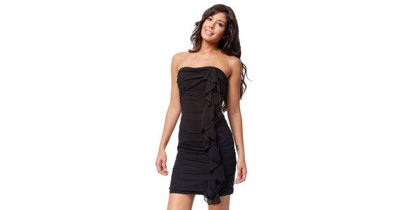 Černé pouzdrové šaty s volány 9301194974
