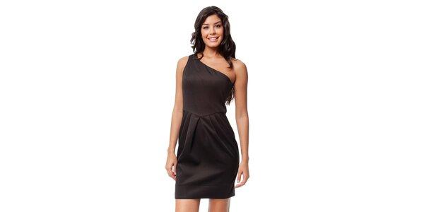 Čokoládové asymetrické šaty Guess