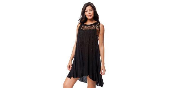 Černé šaty s třásněmi Guess