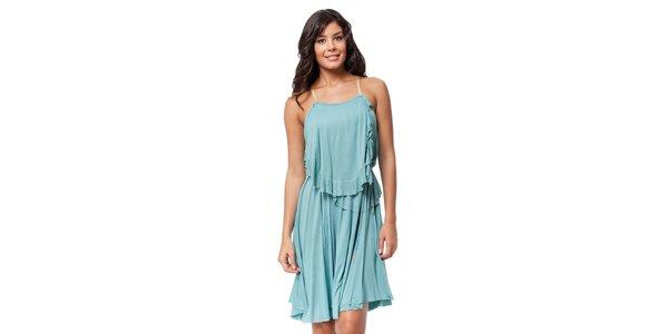 Romantické tyrkysové šaty s volány Guess